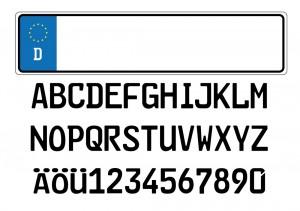 Wunschkennzeichen Alphabet Schild