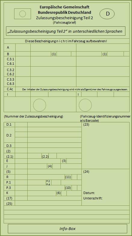 Zulassungsbescheinigung Teil 2 Fahrzeugbrief